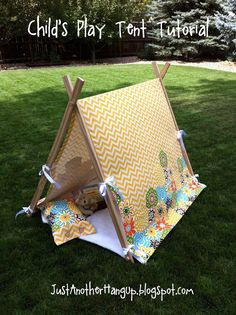 As a child I remember building forts, tents and tee pees with sheets, blankets and pillows layered over chairs, sofas and beds. Something magical happens when a child's imagination is fired. This indoor/outdoor play tent is the perfect hideaway for any. Sewing For Kids, Diy For Kids, Crafts For Kids, Diy Pour Enfants, Kids Tents, Childrens Play Tents, Ideias Diy, Kids Playing, Summer Fun