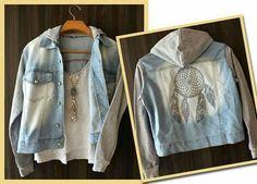 Jaqueta Jeans com Filtro de Sonho nas Costas - Jaqueta Jeans Feminina - Filtro de Sonho - Caçador de Sonhos