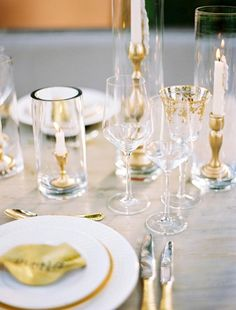 Gold table decor is hot #OliverINK on Etsy
