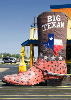 The Big Texan Steakhouse. Amarillo, Texas.  Big Texan Steak Ranch / Competitive Eating Heritage Trail: swallow a 72-oz. steak and all of the sides in an hour and it's free!  Photo by Andy New.