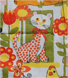 vintage screen printed pink red orange yellow, black and white cotton fabric childrens baby design.