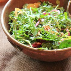 Arugula goat cheese salad with balsamic honey vinaigrette