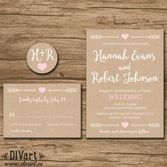 Rustic Wedding Invitation Suite Response Card Monogram  by DIVart