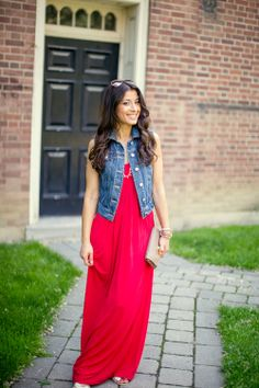 Red maxi with a denim vest