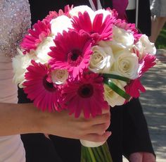 Hot pink and ivory wedding bouquet