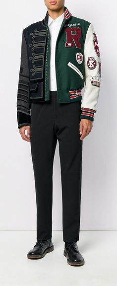 DOLCE & GABBANA asymmetric patch bomber jacket, explore new season Dolce & Gabbana on Farfetch now.