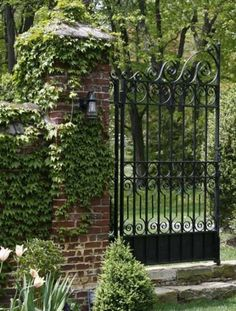Brick column side yard fence backyard ma maision landscape fence wish remodel ----The right entry sparks curiosity about what adventure might lay beyond the garden gate. House Landscape, Landscape Design, Garden Design, Garden Gates And Fencing, Fence Gate, Garden Entrance, Entrance Gates, Garden Doors, Backyard Pergola