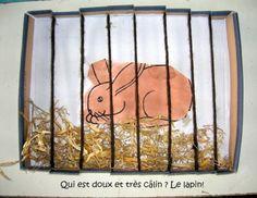 Le lapin : dans le couvercle d'un boite à chaussures. Entailler de chaque côté, et passer de la laine de manière à obtenir les barreaux du clapier.Un peu de paille et voilà !