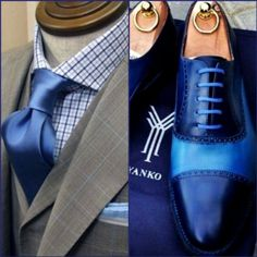 blue two toned oxfords