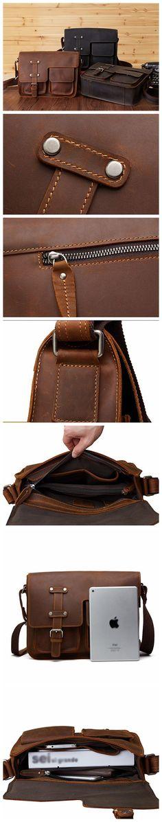 Vintage Leather Bag, Men's Leather Shoulder Bag, Full Grain Business Messenger Bag 6302