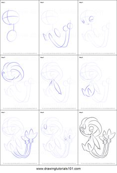 How to Draw Uxie from Pokemon printable step by step drawing sheet : DrawingTutorials101.com