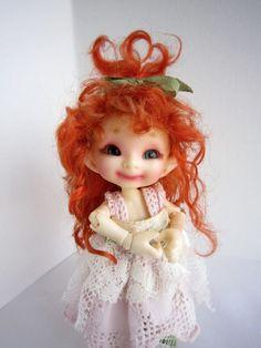 One of a Kind - Mohair WIG Realpuki - Fairyland doll tiny bjd - redhead