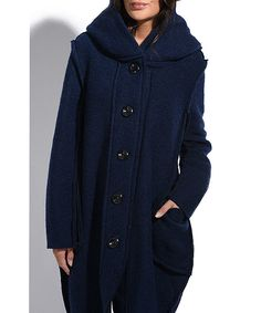 Everest Navy Blue Wool-Blend Coat | zulily . $79.99 / $145.00 : size chart US 4 / EU 36 . US 6 / EU 38 . US 8 / EU 40 . US 10 / EU 42 . A go-to for everyday elegant wear, this wool-blend coat dresses up with large hood, squared pockets and a boxy cut.     Size US 4 / EU 36: 37'' long from high point of shoulder to hem     Model: 5' 7'' tall; 35'' chest; 24'' waist; 35'' hips     Woven     70% wool / 30% polyester     Machine wash     Imported