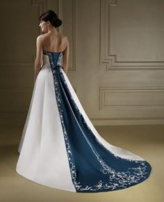 blue wedding dress - would love this with celtic embroidery along the back