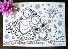 Hattifant's Mama & Baby Owl Coloring Page