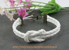 bronze anchor bracelet white leather bracelet personality bracelet women or men bracelet -N627. $3.59, via Etsy.