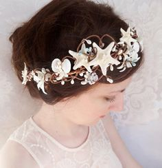 seashell hairpiece, starfish hair accessories, bridal hairpiece with crystals, beach wedding hair accessory, flower crown, aqua blue, white on Etsy, $145.00
