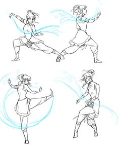 "doromon: "" Legend of Korra doodles. I watched the first two episodes. It is so fantastic I could not not draw fanart xDD Also, Mako is hot. >w> Referenced the tai chi poses (that's the martial art..."