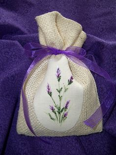 Cozy Expressions Original Design.  Burlap Sachet with handpainted lavender on the front.  $6.00