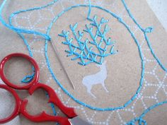 "DIY Embroidery ""Oh Deer"" Card Kit via Etsy. Cool idea for xmas cards!"