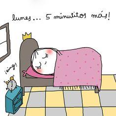 ¡Típico, los lunes necesitamos 5 minutitos más! Spanish Jokes, Spanish Class, Cute Images, Conte, Cute Illustration, Cute Drawings, Good Morning, Fairy Tales, Doodles