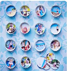 Bottle cap magnets with small pics.  Cute idea for kitchen fridge !