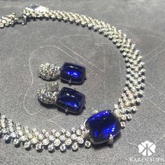 A tanzanite and diamond necklace and earrings on display at Hong Kong Jewellery Show #KarenSuenFineJewellery