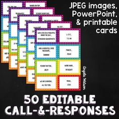 50 Call and Response ideas--great ways to get kids' attention! This blog posts lists them all and there are more great suggestions in the comments.