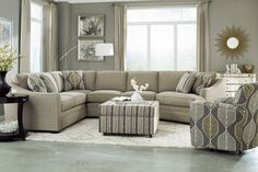 Exceptionnel Comfortable Living Room Furniture Design By Craftmaster Furniture: Exciting  Striped Ottoman By Craftmaster Furniture With Cozy Beige Sectional Sofa And  ...
