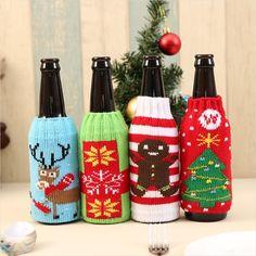 Christmas Wine Bottle Cover Leopard Tie Ornament Tableware Home Party Decor L