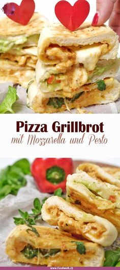 Filled pizza grill bread, for real - Delicious pizza grilled bread with mozzarella, pesto and fresh vegetables. Barbecue Recipes, Grilling Recipes, Veggie Recipes, Vegetarian Grilling, Healthy Grilling, Snacks Recipes, Barbecue Sauce, Veggie Food, Bbq Grill