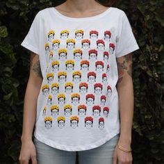 Frida T-Shirt   Sfumatura Giallo/Rosso   Serigrafata a mano