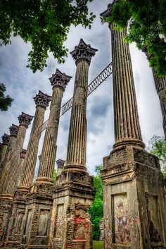 Windsor Ruins. Built in 1861 by Smith Coffee Daniell II. The Plantation survived the Civil War unharmed, only to be destroyed by an accidental fire in 1890. All was lost expect of the columns and some ironwork. The ruins are those of the largest antebellum Greek Revival mansions built in the state, and has been used in various motion pictures. It is located in Claiborne County in Mississippi.