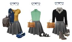 """Preppy Girl - Gray skirt 3 ways"" by julianne-lalonde ❤ liked on Polyvore featuring Doublju, LE3NO, Bulgari, Warner Bros., Barbour, Frye and Maine New England"