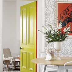 Love this, painting the edges in a contrasting shade so the colour flashes out when the door is opened. Adding colour to a room without changing the decor. Also functional... Where's the toilet? Green door!