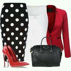 Black and white polka dot skirt red blazer white top date night outfit office outfit Mode Outfits, Fashion Outfits, Womens Fashion, Fashion Trends, Work Fashion, Fashion Looks, Jw Fashion, Apostolic Fashion, Style Fashion