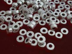 100 Metallperlen SPACER Rondelle 6x2,5mm platinfarbig Perlen nenad-design AN353
