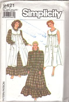 Simplicity 9421 1980s Misses Granny Flannel Nightgown and Pinafore Pattern  Womens Vintage Sewing Pattern Size PT - XL Bust 30 - 46 UNCUT 6f8f49ba0