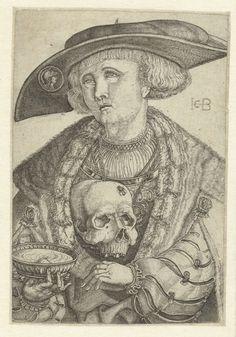 1510 - 1569 Jakob Binck, Self-portrait with skull and scale (Zelfportret met schedel en schaal)