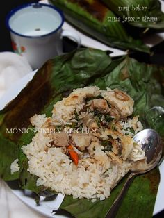 nasi bakar tuna jamur tiram Nasi Liwet, Nasi Bakar, Nasi Lemak, Rice Recipes, Cooking Recipes, Mie Goreng, Asian Cake, Rice Pasta, Indonesian Food