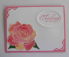 beautiful card with watercolor blend to color Fifth Avenue Rose...sweet embossed frame for the sentiment...