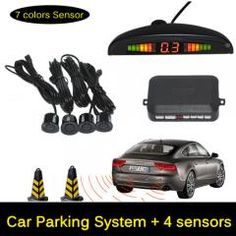 [ 20% OFF ] 12V Led Car Parking Sensor Monitor Auto Reverse Backup Radar Detector System + Led Display + 4 Sensors + Black + Silver