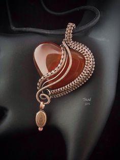 Carnelian Heart Copper Wire Weave. by Traebetruedesign on Etsy                                                                                                                                                      More