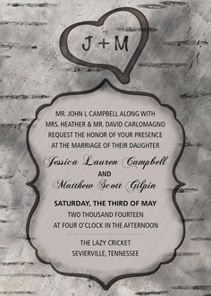 Rustic Country Wedding - Custom made wedding invitations initials by TallulahMaeboutique, $9.99