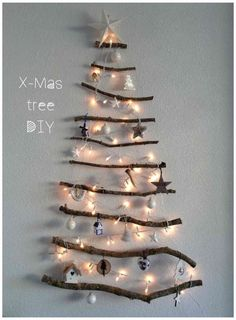 DIY Christmas tree - perfect for all those twigs and sticks the children haul back from nature. Christmas Sewing, Diy Christmas Tree, Winter Christmas, Vintage Christmas, Christmas Time, Jingle All The Way, Diy Weihnachten, Xmas Decorations, Advent