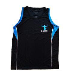One of the original Rawai designs, this black dry fit tank top has featured piping under arm and matching wai kru logo. Currently available in two colors: green and blue.