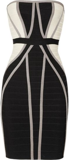 Herve Leger ~ Strapless Paneled Bandage Dress