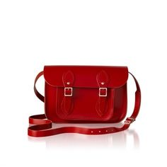 A classic cambridge satchel design handmade in the UK using the finest quality English leather. Featuring a well structured body, an adjustable shoulder strap and silver buckle closures.