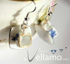 Sterling silver earrings with unique square miniature by byVellamo, $18.00