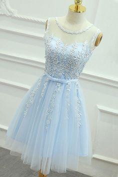 2018 Prom Dresses, Light Blue Prom Dresses, Blue Homecoming Dresses, Homecoming Dresses With Appliques, Homecoming Dresses Short
